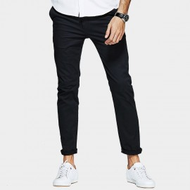 Kuegou Contrasting Stitches Button Pocket Black Pants (KK-2370)