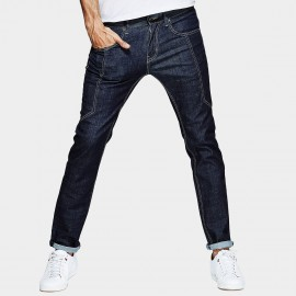 Kuegou Patch Stitches Denim Rolled Navy Jeans (LK-1089)