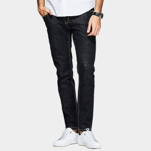 Kuegou Contrasting Stitches Straight Cut Black Jeans (LK-1094)
