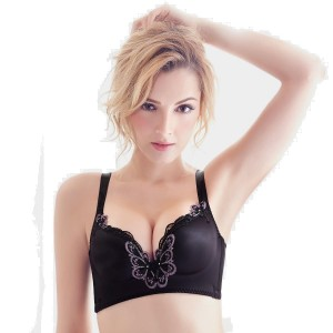 Olanfen Butterfly Embroidery Plunge Moulded Cup Black Bra (W6040)