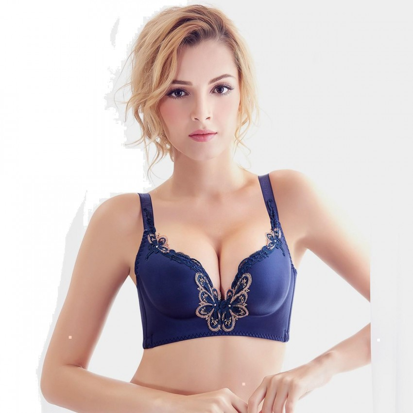 Olanfen Butterfly Embroidery Plunge Moulded Cup Navy Bra (W6040)