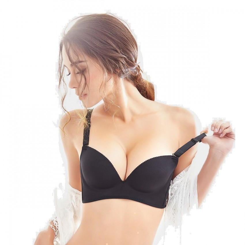 Olanfen High Side Wings Push Up Convertible T Shirt Black Bra (W6045)