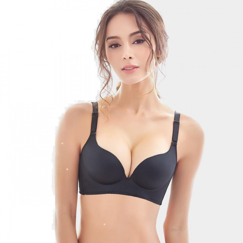 Olanfen Sliky Smooth Minimalistic Push Up Convertible Black Bra (W6070)