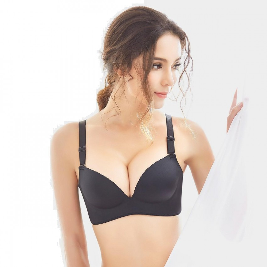 Olanfen Invisible Seamless Push Up Convertible Black Bra (W6072)