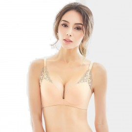 Olanfen Lace Layers Push Up Convertible T Shirt Nude Bra (W6056)