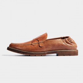 Herilios Slip On Elastic Vintage Brown Loafers (H7105D71)