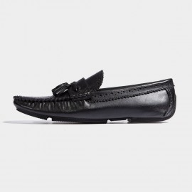 Herilios Firework Brogues Twisted Strips Black Loafers (H7105D80)