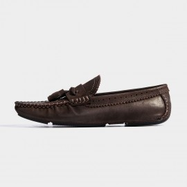 Herilios Firework Brogues Twisted Strips Brown Loafers (H7105D80)