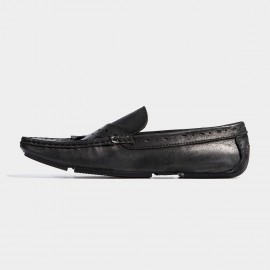 Herilios Crossing Belt Brogues Light Sole Black Loafers (H7105D84)
