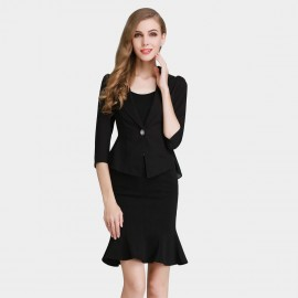 SSXR Ruffled Hem Single Button Black Blazer (4310)