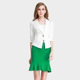 SSXR Ruffled Hem Single Button White Blazer (4310)