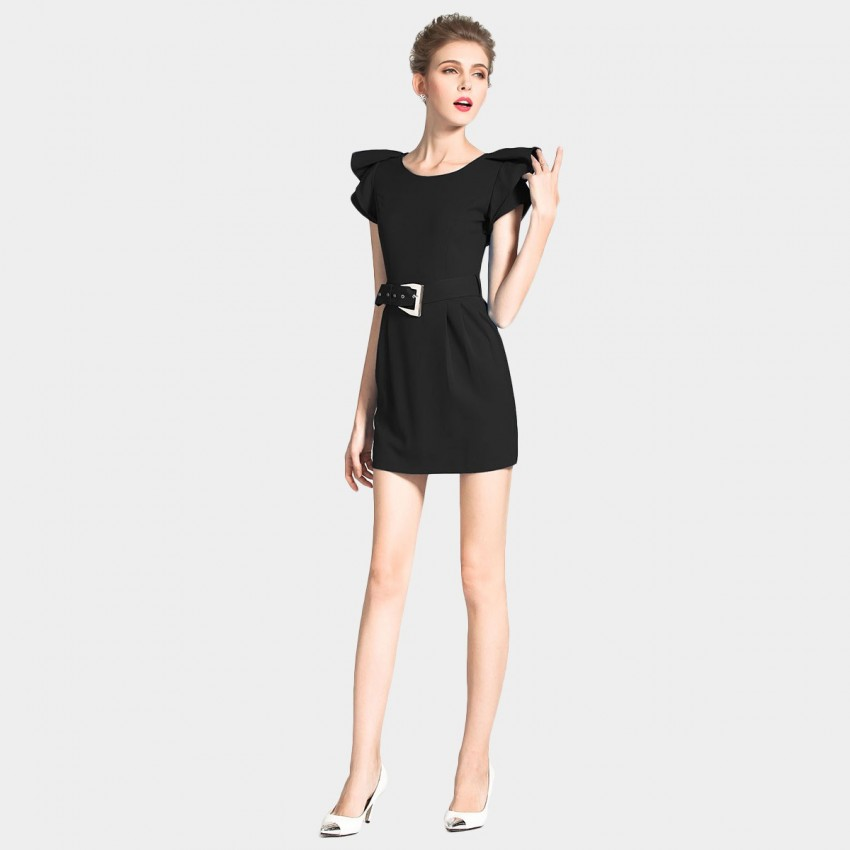 SSXR Ruffled Sleeves Mini Black Dress (5128)