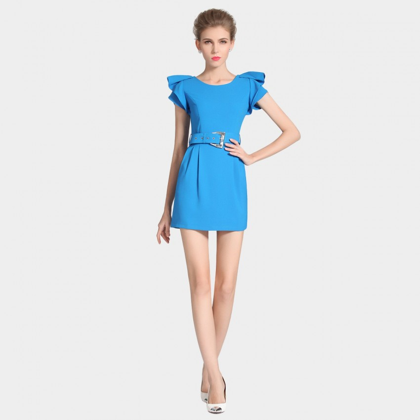 Buy SSXR Ruffled Sleeves Mini Blue Dress online, shop SSXR with free shipping