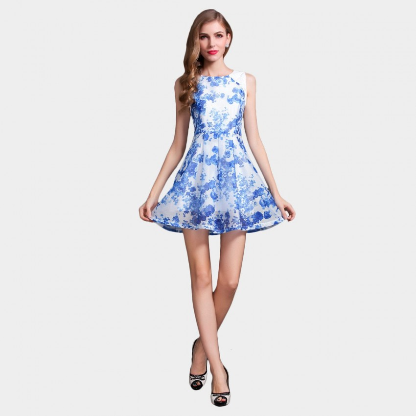 Buy SSXR Ink Fleur Patchwork Blue Dress online, shop SSXR with free shipping
