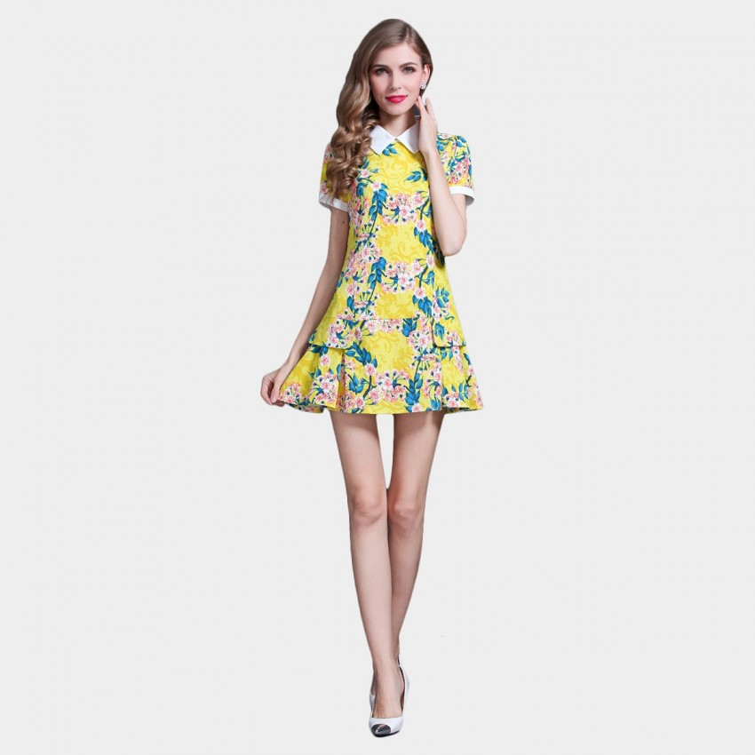 Buy SSXR Vintage Doll Collar Yellow Dress online, shop SSXR with free shipping