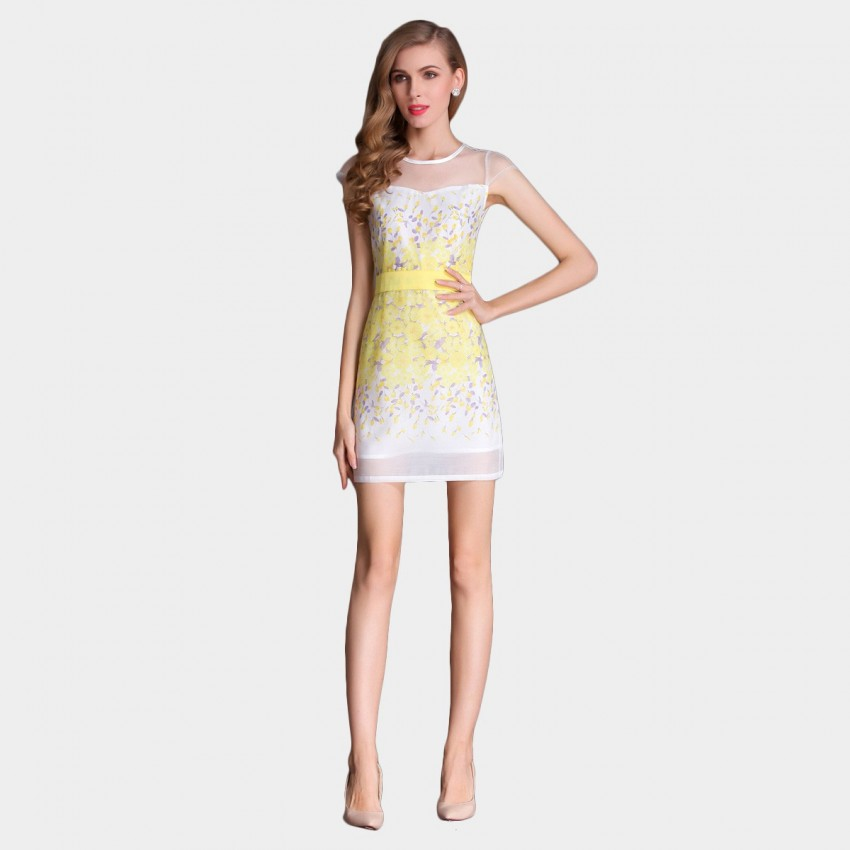 Buy SSXR See-Thru Gauze Patterned Yellow Dress online, shop SSXR with free shipping