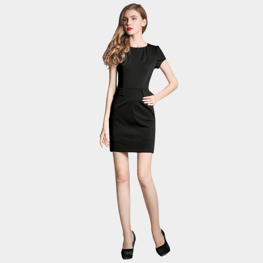 Buy SSXR Puff Sleeves Pocket Black Dress online, shop SSXR with free shipping