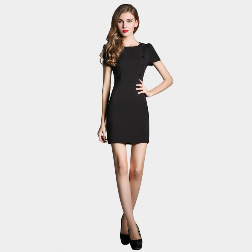 Buy SSXR Drape Sleeved Button Deco Black Dress online, shop SSXR with free shipping