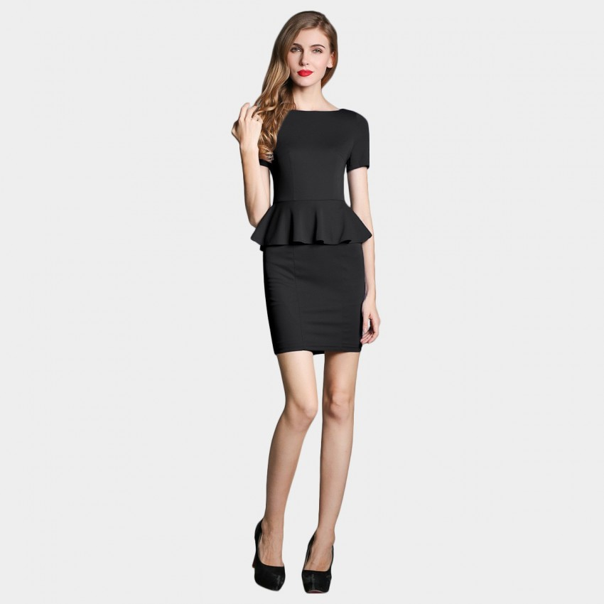 Buy SSXR Faux Two Piece Body Con Black Dress online, shop SSXR with free shipping