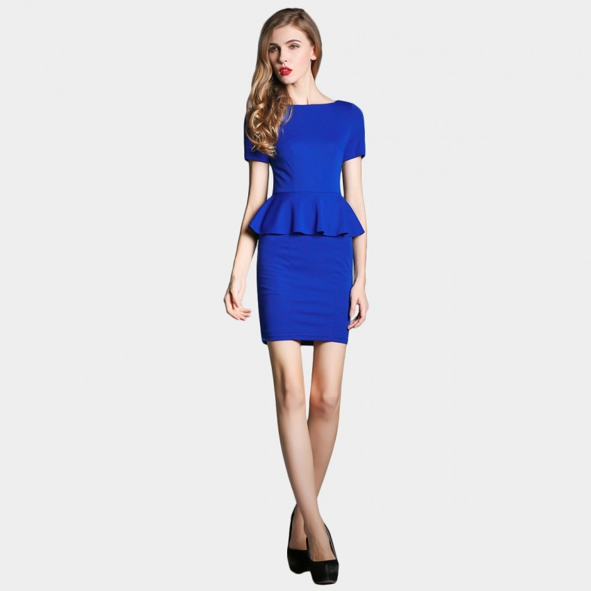 Buy SSXR Faux Two Piece Body Con Blue Dress online, shop SSXR with free shipping