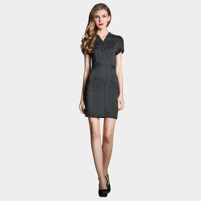 Buy SSXR Vertical Stripes Contours Black Dress online, shop SSXR with free shipping