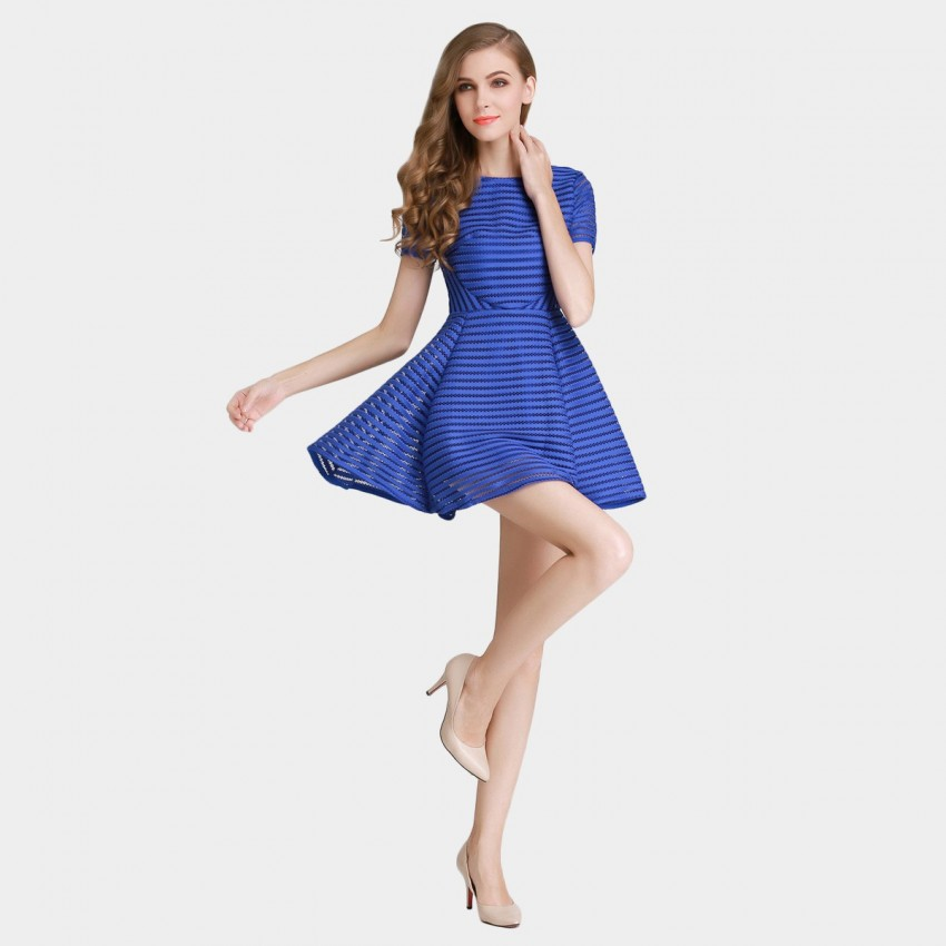 Buy SSXR See Thru Mesh Trumpet Blue Dress online, shop SSXR with free shipping