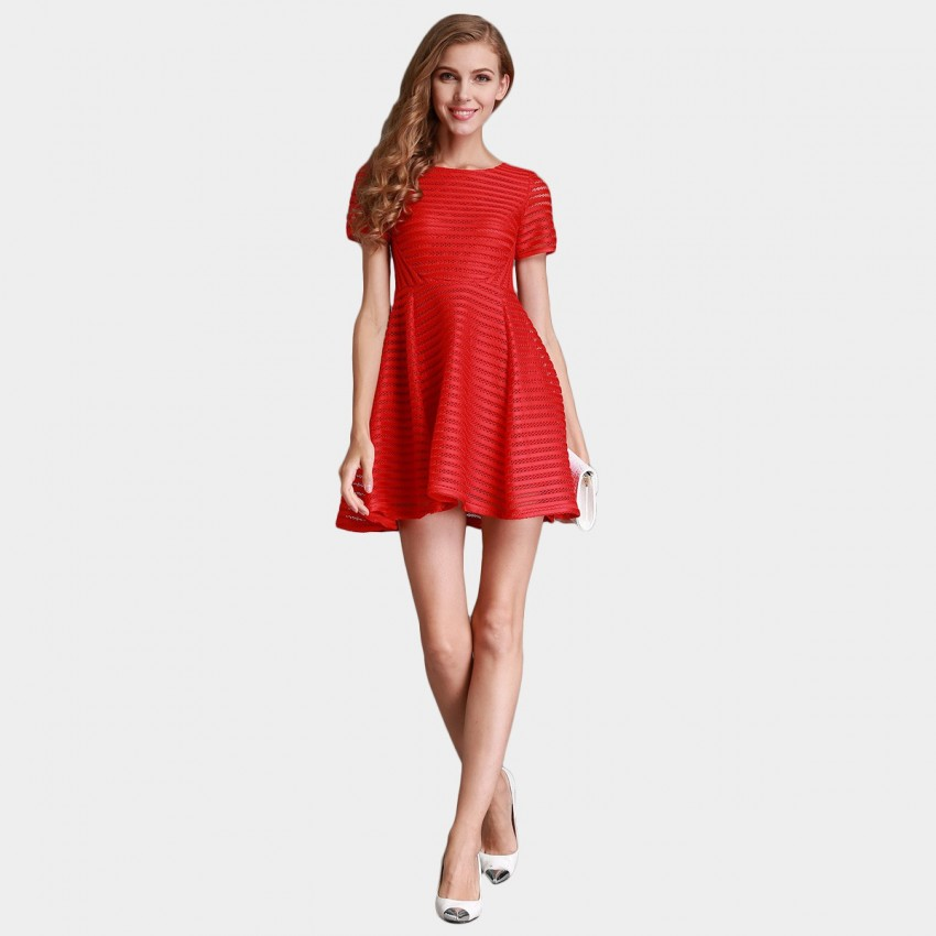Buy SSXR See Thru Mesh Trumpet Red Dress online, shop SSXR with free shipping
