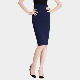 SSXR Knee Length Elastic Body Con Navy Skirt (5241)