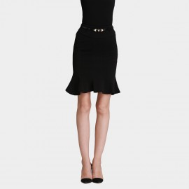 SSXR Trumpet Bottom Body Con Black Dress (5244)