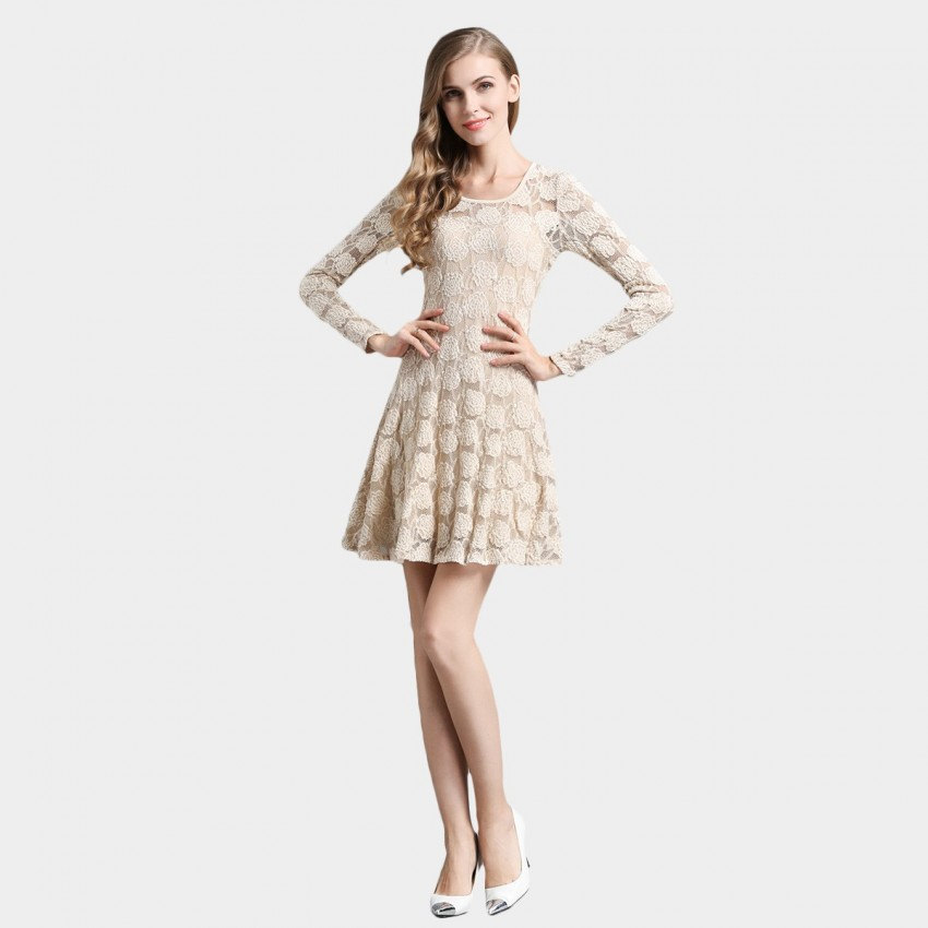 Buy SSXR See Thru Rose Gauze Beige Dress online, shop SSXR with free shipping
