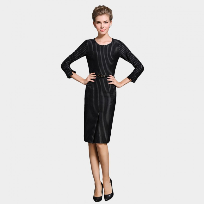 Buy SSXR Mid Sleeved Knee Length Stripes Black Dress online, shop SSXR with free shipping