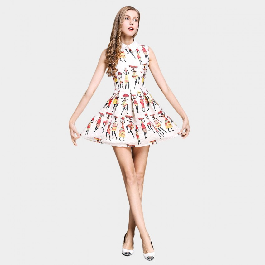 SSXR Exotic Pattern Print White Dress (5308)