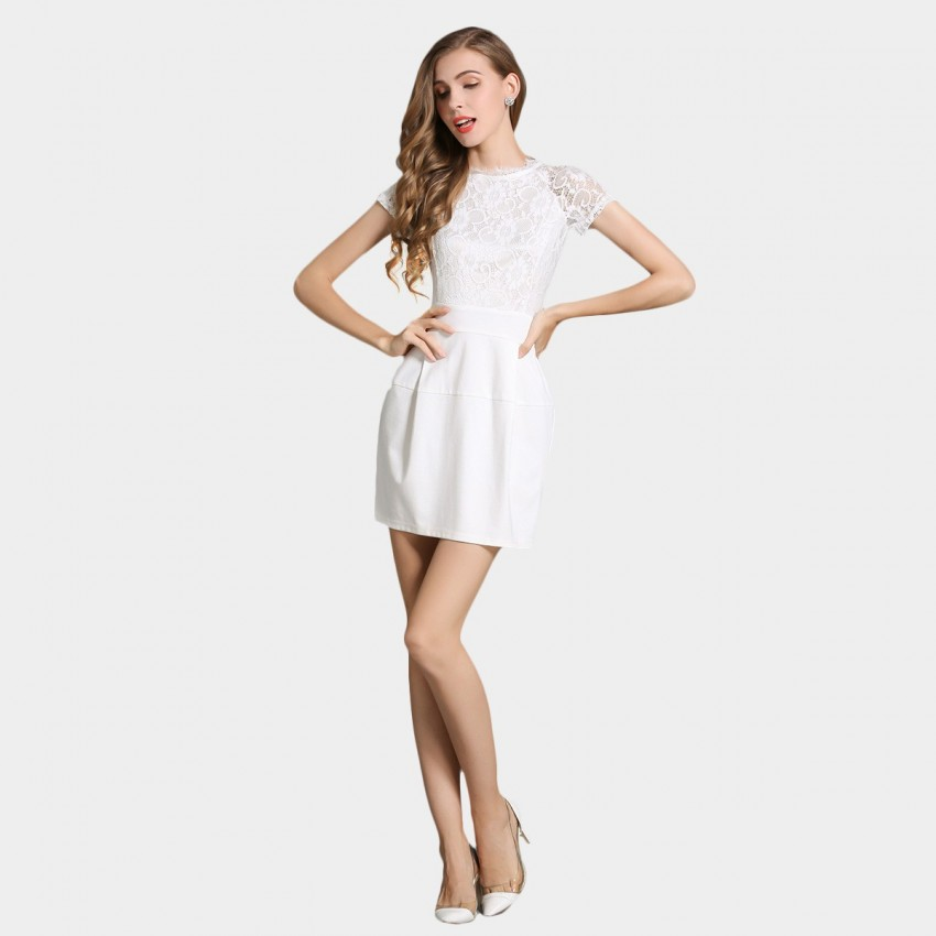 Buy SSXR See Thru Sleeves Material Mix White Dress online, shop SSXR with free shipping