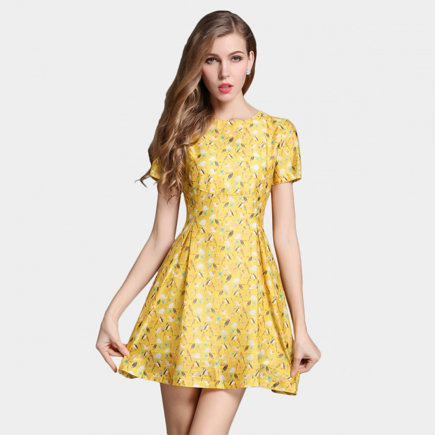 Buy SSXR Swallow Pattern Print Yellow Dress online, shop SSXR with free shipping