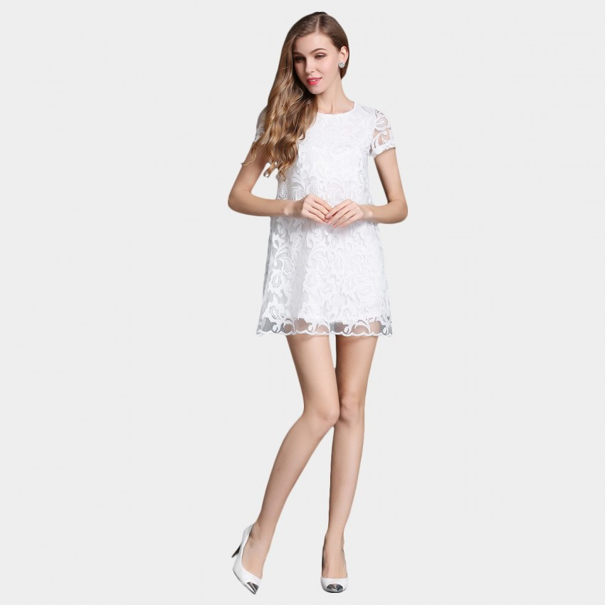Buy SSXR Patterned Gauze Doll White Dress online, shop SSXR with free shipping