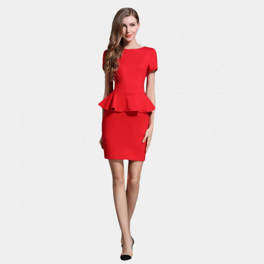 Buy SSXR Ruffled Waist Red Dress online, shop SSXR with free shipping