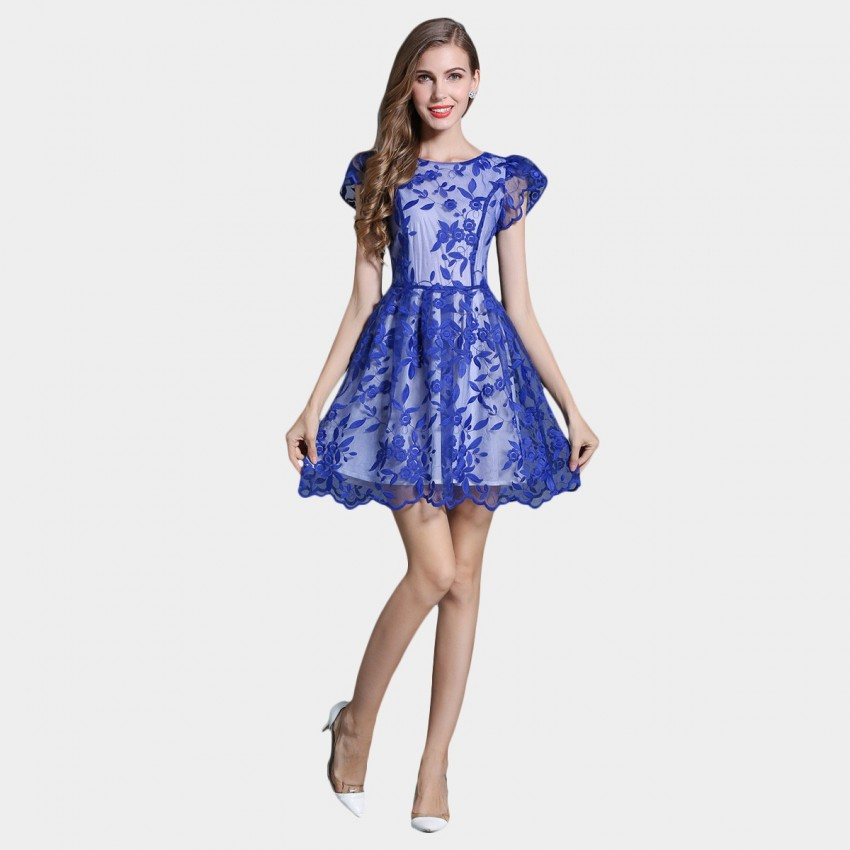 Buy SSXR Princess Sleeves Gauze Blue Dress online, shop SSXR with free shipping