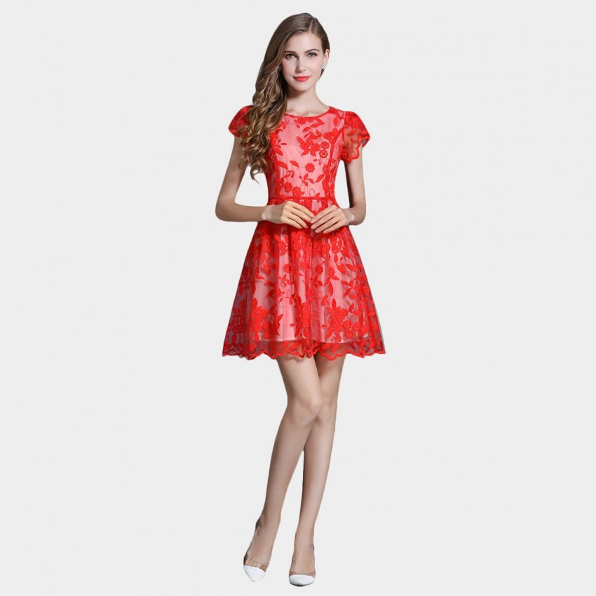 Buy SSXR Princess Sleeves Gauze Red Dress online, shop SSXR with free shipping