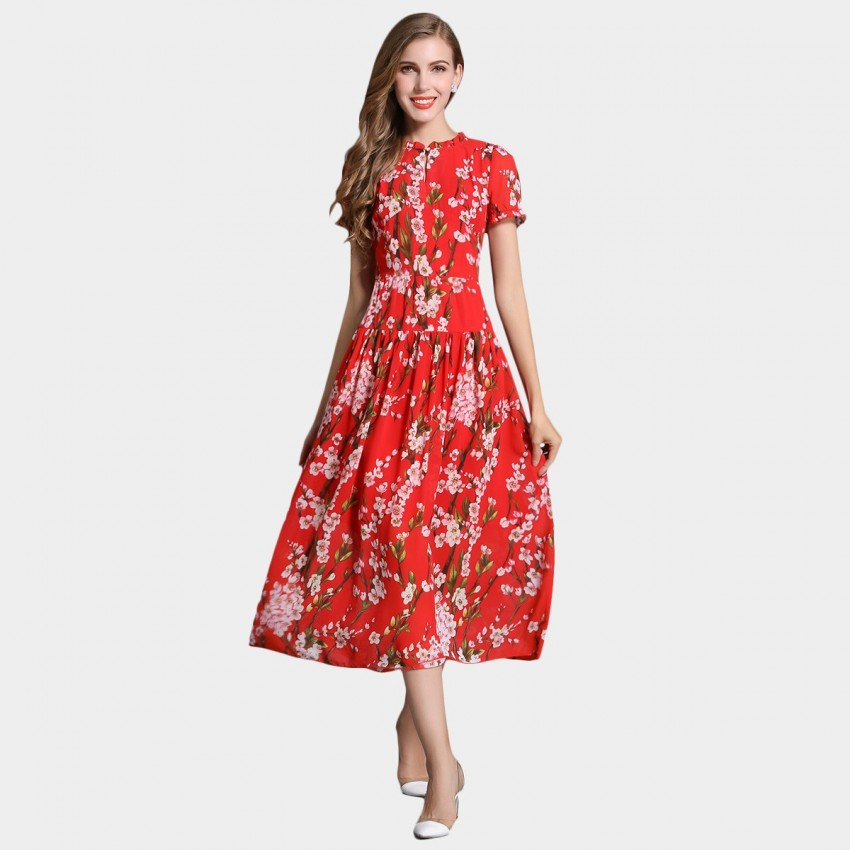 Buy SSXR Plum Blossom Print Pattern Red Mid Calf Dress online, shop SSXR with free shipping