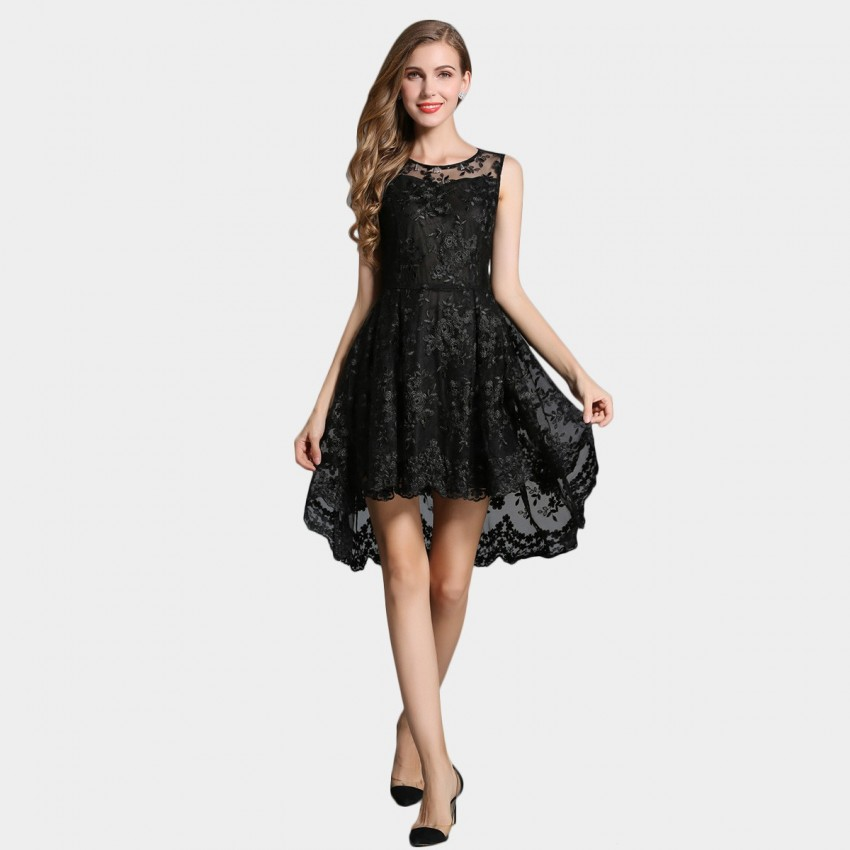Buy SSXR Lace Gauze Crop Front Black Dress online, shop SSXR with free shipping