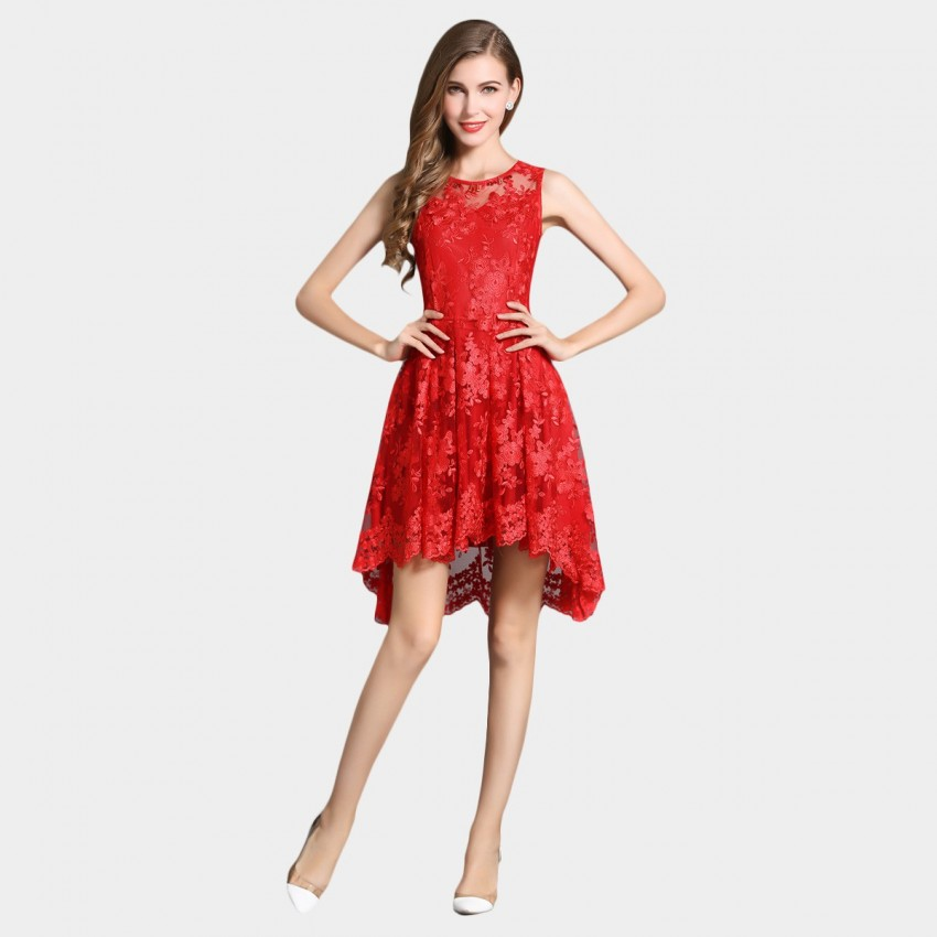 Buy SSXR Lace Gauze Crop Front Red Dress online, shop SSXR with free shipping