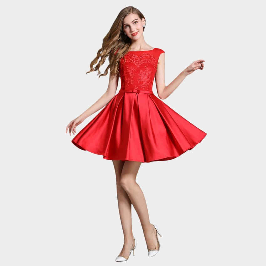 Buy SSXR Silky Embroidery Fleur Red Dress online, shop SSXR with free shipping