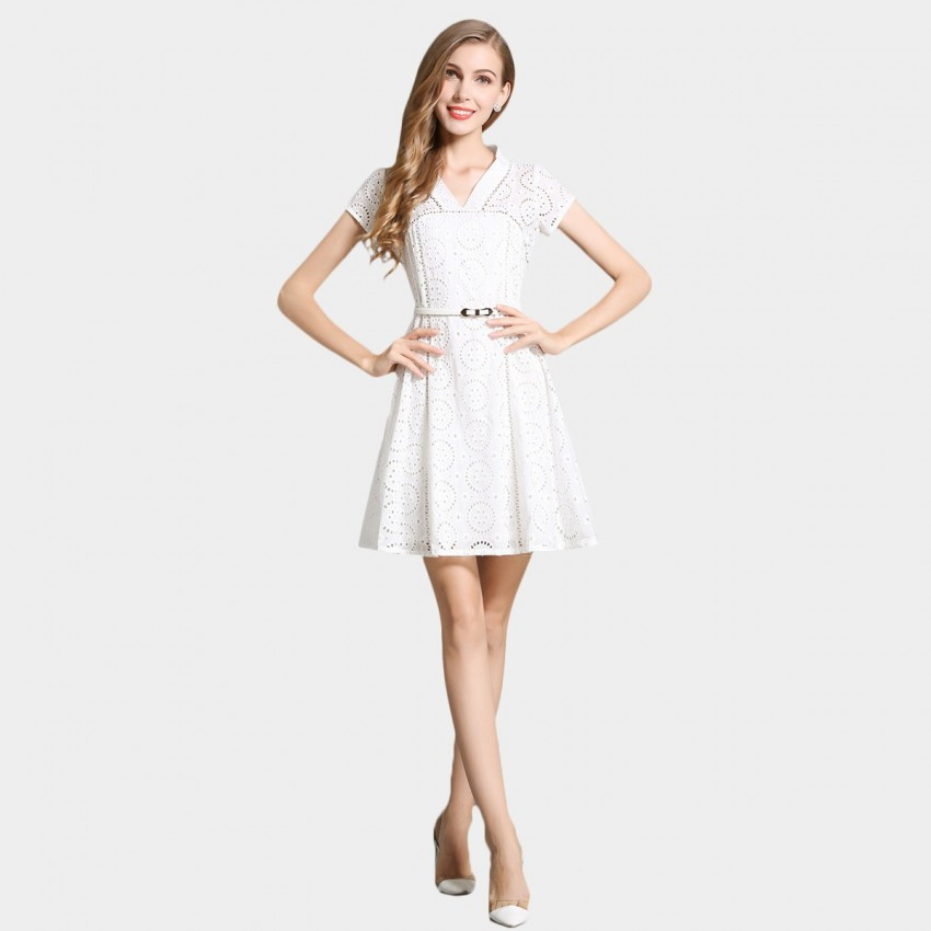 Buy SSXR Hollow Out Pattern White Dress online, shop SSXR with free shipping