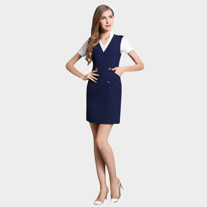Buy SSXR Double Button Pocket Vest Navy Dress online, shop SSXR with free shipping