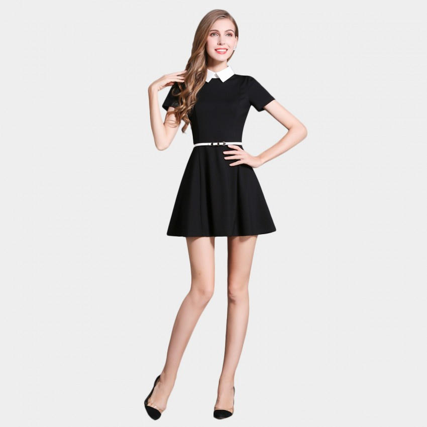 SSXR Contrast Collar Minimalistic Black Dress (5346)