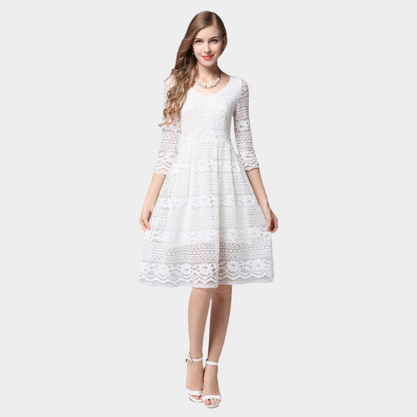 Buy SSXR Patterned Lace Mid Sleeved Knee Length White Dress online, shop SSXR with free shipping