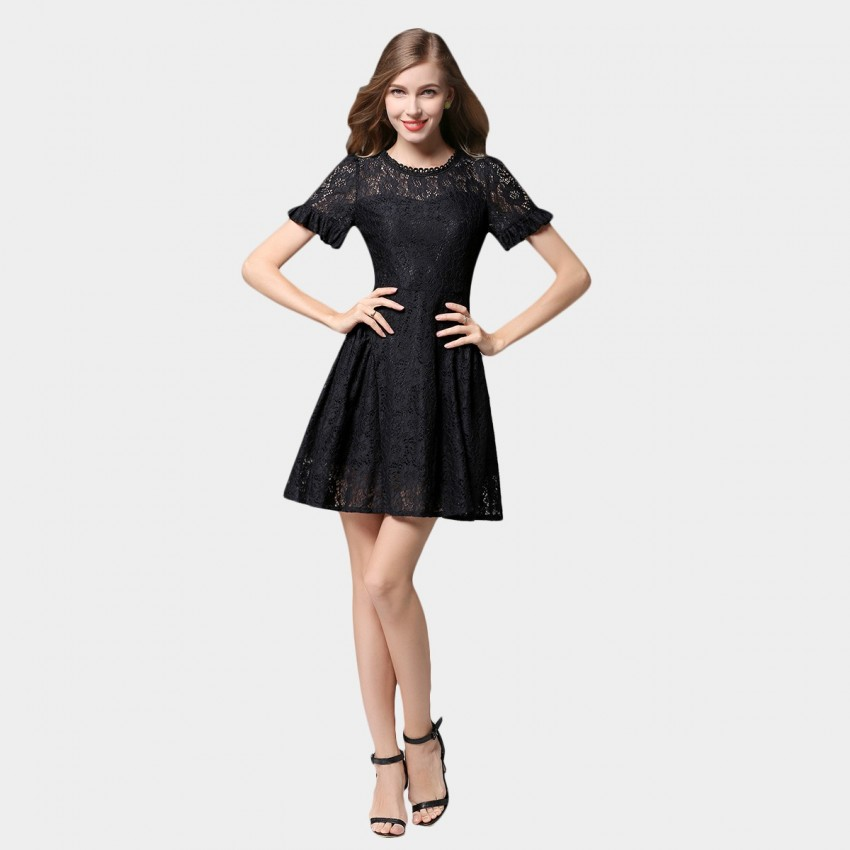 Buy SSXR Ruffled Cuff Short Sleeved Lace Black Dress online, shop SSXR with free shipping