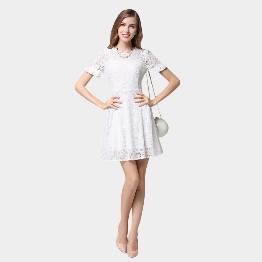 Buy SSXR Ruffled Cuff Short Sleeved Lace White Dress online, shop SSXR with free shipping