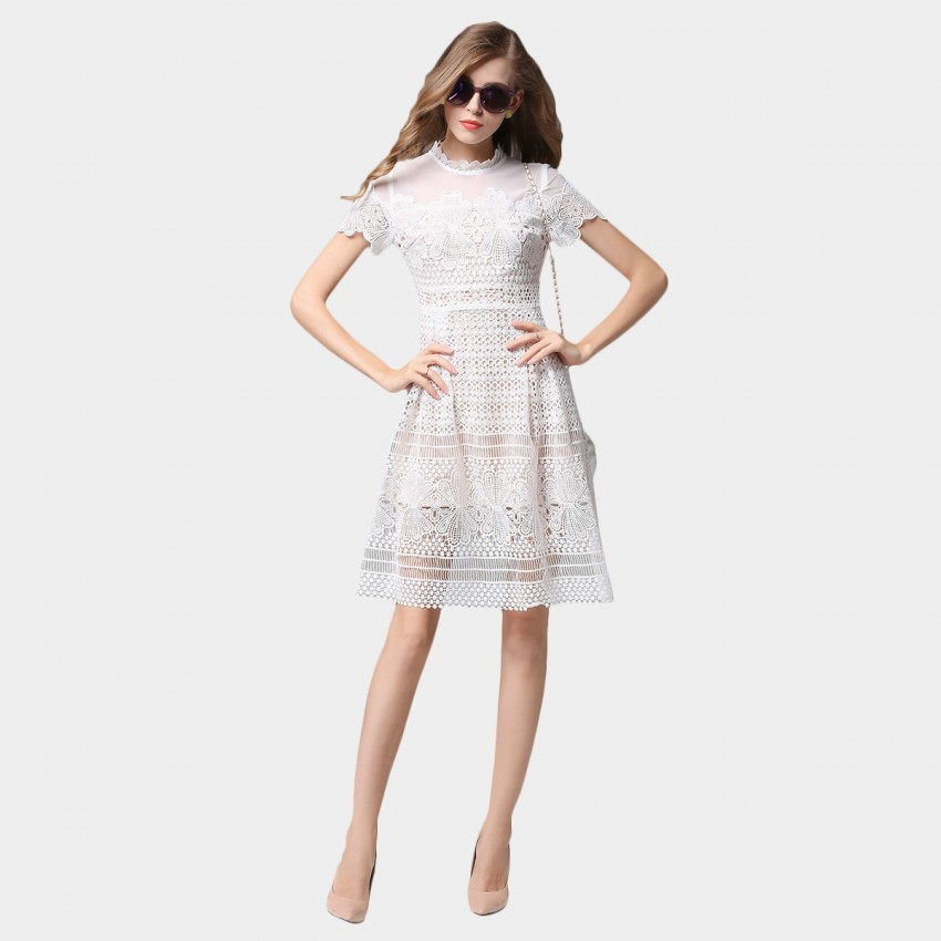 Buy SSXR Gauze Shoulder Lace White Dress online, shop SSXR with free shipping