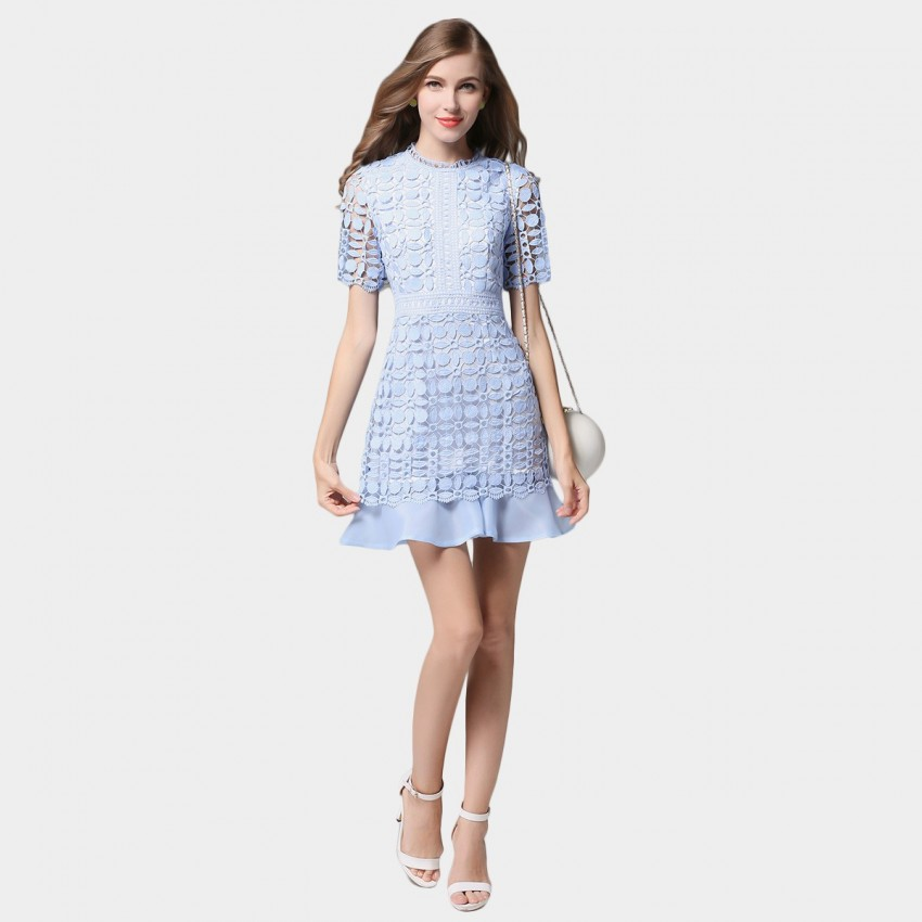 Buy SSXR Petals Patterned Mesh Material Blue Dress online, shop SSXR with free shipping